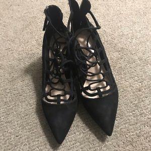 Zara basic lace up black heels
